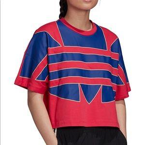 Adidas crop top. Supersizes logo. Size large.